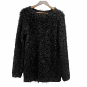 Gray black mohair wool sweater made in Italy M